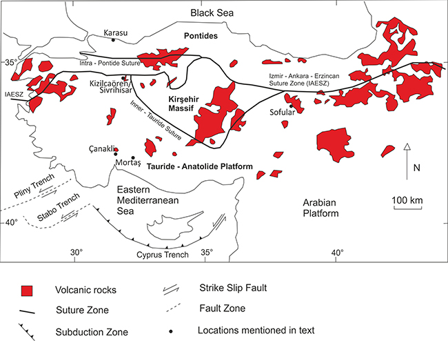 Map of Turkey with the main tectonic subdivisions shown; volcanic rocks are outlined in red. Localities outlined in the text are shown on the map. Adapted from Robertson et al., 2012 and Sarıfakıoğlu et al., 2009.