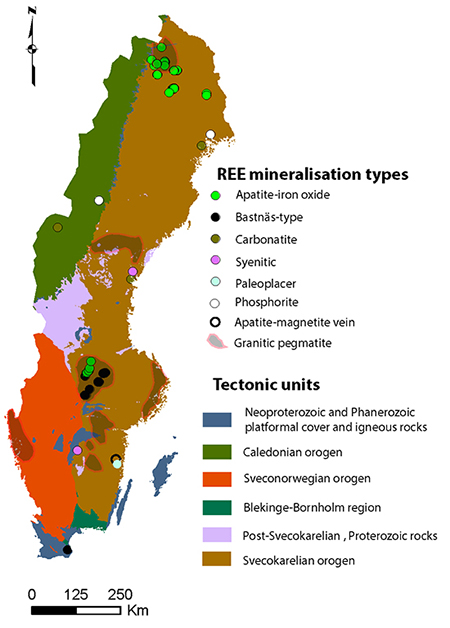 Spatial distribution and simplified type of known REE occurrences in Sweden (modified after Sadeghi et al., 2013).